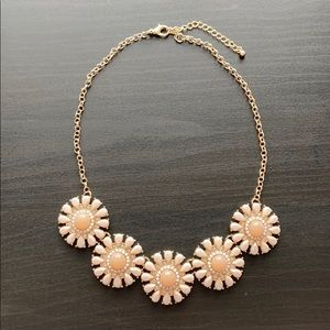 Peach and Gold Flower Statement Necklace